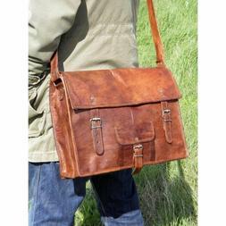 """15"""" New Briefcase Vintage Crafts Real Leather Messenger Men'"""