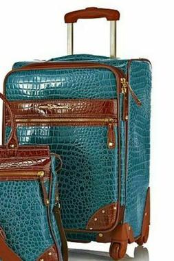 """Samantha Brown 22"""" Ombre' Croco Embossed Upright Green Lugga"""