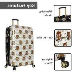 "Betsey Johnson 26"" Tiger Head Black White Suitcase Travel Sp"