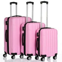 3PCS LUGGAGE TRAVEL SET ABS BAG TROLLY HARD SHELL SUITCASE W