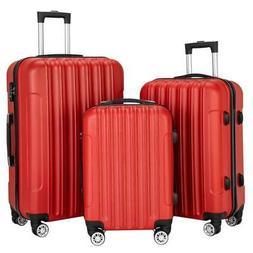 3PCS Luggage Travel Set Bag Trolley Hard Shell Suitcase Stro