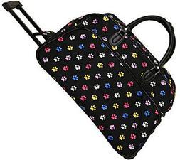 "Women's Paw Print 21"" Rolling Duffel Bag Suitcase Garment Ca"