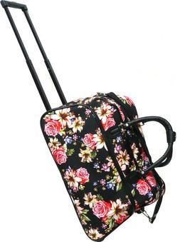 "Women's Rose Lily Print 21"" Rolling Duffel Bag Suitcase Garm"