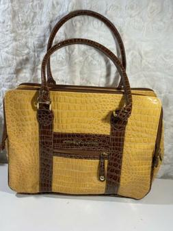 Samantha Brown Croco Embossed yellow Carry on Luggage Suitca