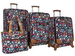 Lily Bloom Expandable Raccoon Harvest Spinner Luggage Set 4