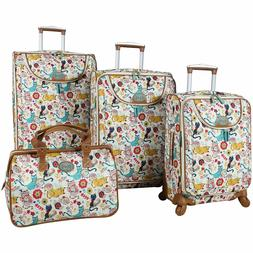LILY BLOOM FURRY FRIENDS LUGGAGE SUITCASE SET 4 PIECE COLLEC