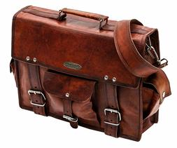 Goathide Leather Laptop Briefcase, Computer Bag in Red Cheer