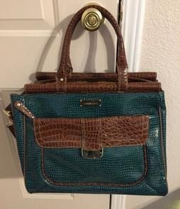 Samantha Brown Green Croco Embossed Carry on Luggage Suitcas