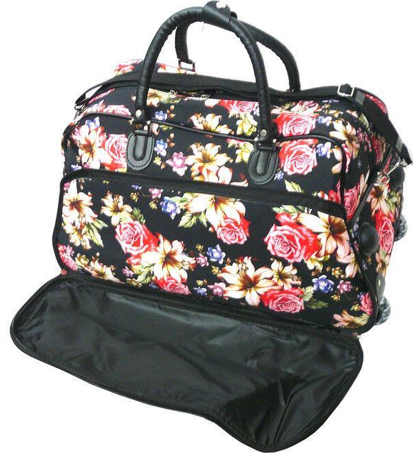 "Women's Lily Print 21"" Rolling Duffel Suitcase"
