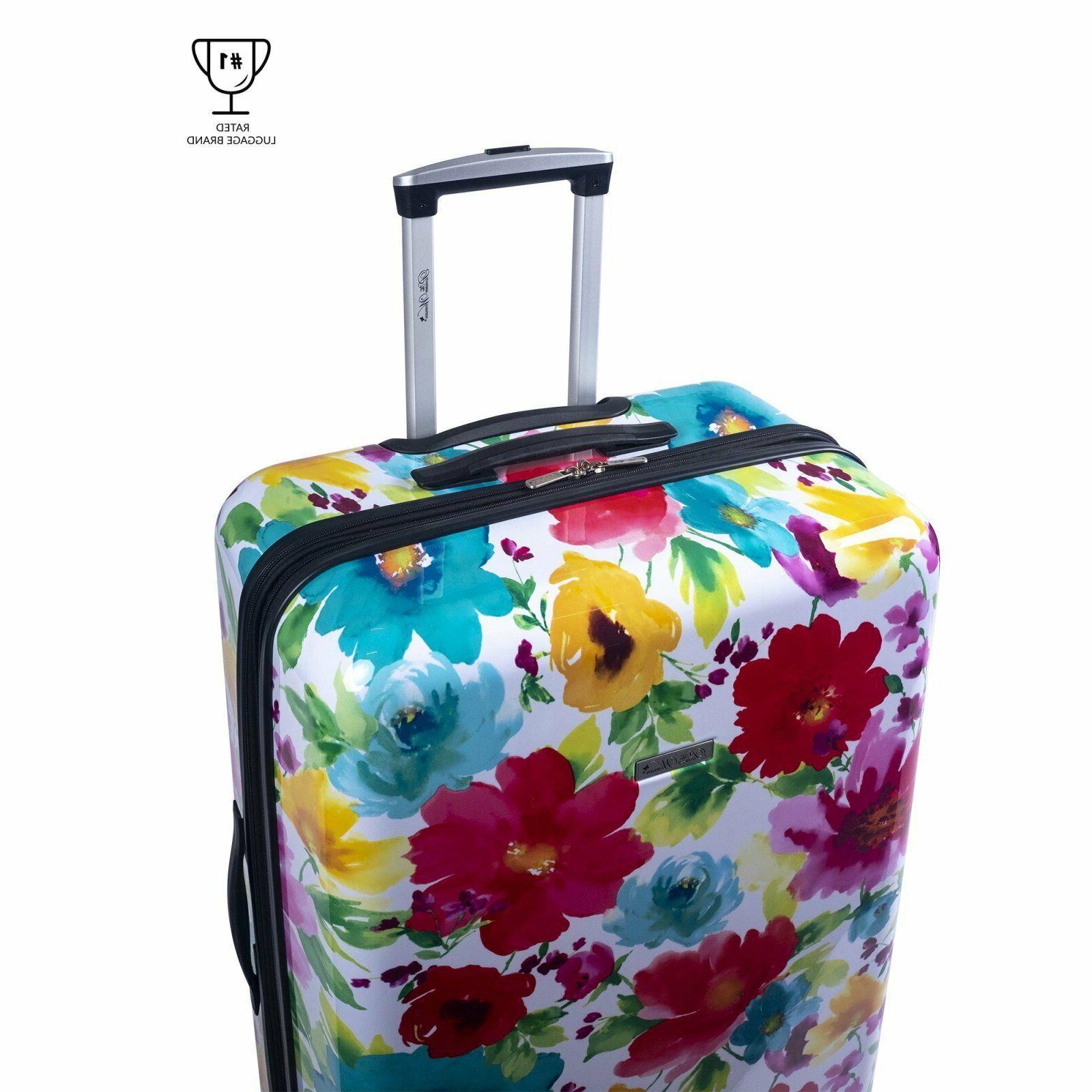 "Hardside Luggage 28"" Breezy Blossom double wheels Travel"