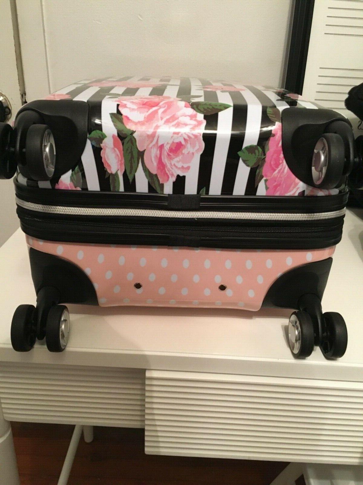 NWT Pink Rose Hardside White Luggage