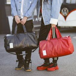 Travel Bag Unisex Sport Case Men's Women PU Leather Luggage