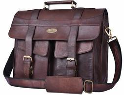 Men's Women's Leather Laptop Briefcase Messenger Bag Shoulde