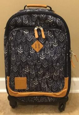 NEW Pottery Barn Teen Northfield NAVY Feather Rolling Suitca