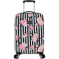 "NWT Betsey Johnson 20"" Pink Rose Black Hardside White Stripe"