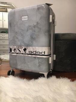 NWT BEBE Women's Lilah Silver Marble Large Luggage Suitcase