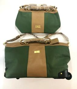 JM New York Olive And Brown Luggage Set Suitcase With Wheels