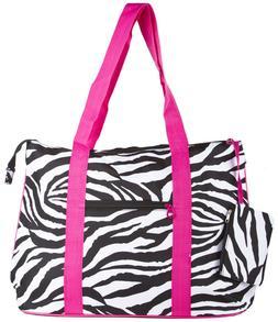 Pink Zebra Striped Print Travel Tote Bag Gym Carry On Purse