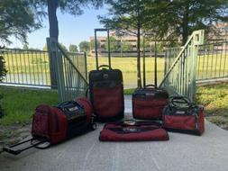 Brighton  Ruby Red Jacquard Black Leather Luggage Set