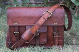 Satchel Briefcase Vintage Crafts Real Leather Messenger Men'