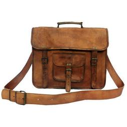 Unisex Original Leather Messenger Laptop Bag Case Distressed