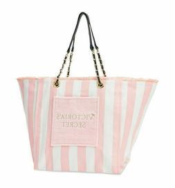 Victoria Secret Beach Tote Bag Pool Weekender Fringe Pink Wh