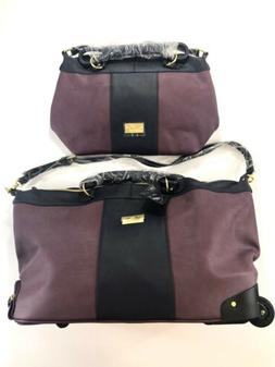 JM New York Violet And Black Luggage Set Suitcase With Wheel