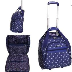 Jessica Simpson Wheeled Tote Luggage Carry On Blue White Fre
