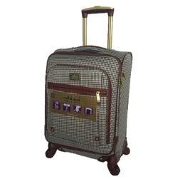 """NICOLE MILLER WOMEN'S 20"""" HOUNDSTOOTH CARRY-ON SPINNER LUGGA"""