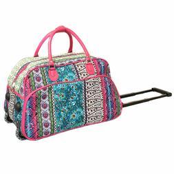 """Women's BOHO Print 21"""" Rolling Duffel Bag Suitcase Garment C"""