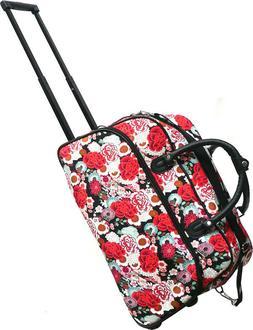 """Women's Floral Print 21"""" Rolling Duffel Bag Suitcase Garment"""