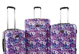 BEBE Women's Gia 3pc Suitcase Set with Spinner Wheels Purple