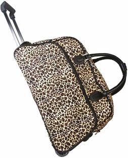 """Women's Leopard Print 21"""" Rolling Duffel Bag Suitcase Garmen"""