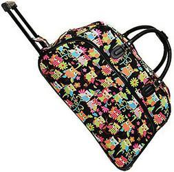 "Women's Owl Print 21"" Rolling Duffel Bag Suitcase Garment Ca"