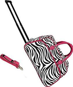 "Women's Pink Zebra 21"" Rolling Duffel Bag Suitcase Garment C"