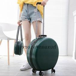 Women Suitcase  Round Travel Luggage Bag Wheel Cabin Trolley