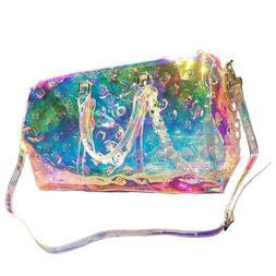 Womens Handbag PVC Holographic Rainbow Laser Girl Sport Lugg