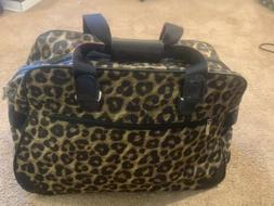 Womens Brighton Leopard Print Lined Rolling Tote Bag Suitcas