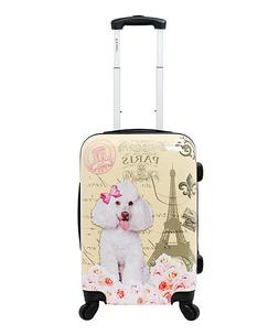 """CHARIOT Yellow Paris DOG POODLE HARDSIDE LUGGAGE SPINNER 24"""""""